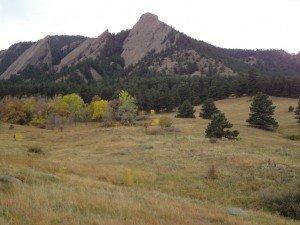 Boulder Flatirons as viewed from the Chautauqua Trailhead