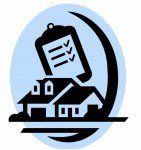 Clipart showing a house, inspection clip board and a moon