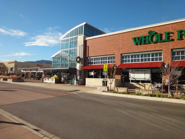 Whole Foods entry, seen from outside, to the west, the mountains are just visible.