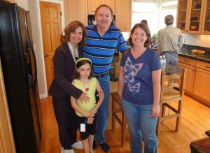 The Pehls, on the left (Kory and Rejane and kids) and Jody Tracy on right