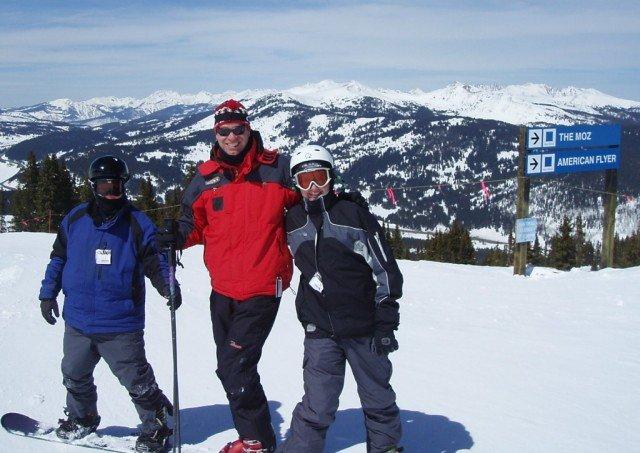 Zea, Bob and Bear, atop Vail, having a ski day