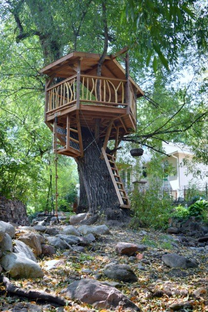 custom built tree fort
