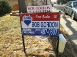 Bob Gordon remax real estate sign with flyer box, never ending flyer and rider