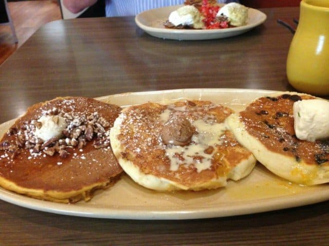 flight of pancakes at snooze breakfast eatery