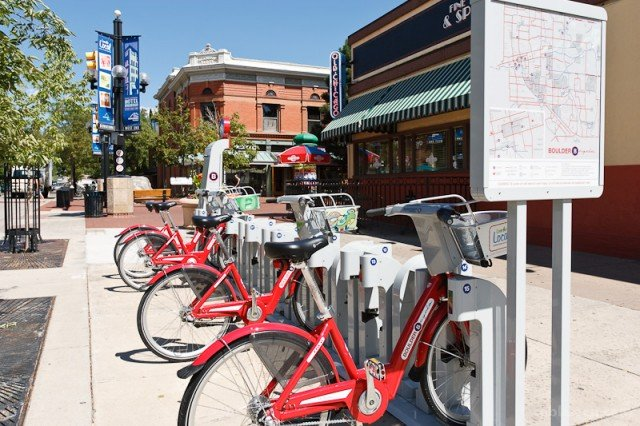 Photo courtesy of Rob Larsen Photography.  Pearl Street Mall location of B-Cycle