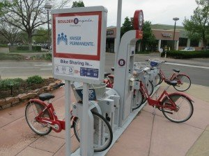 B-Cycle Boulder along Arapahoe between 28th and Folsom