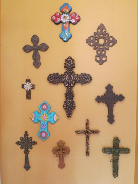 crosses on a wall