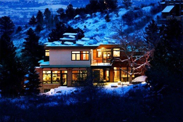 Edge house boulder colorado on a snowy night