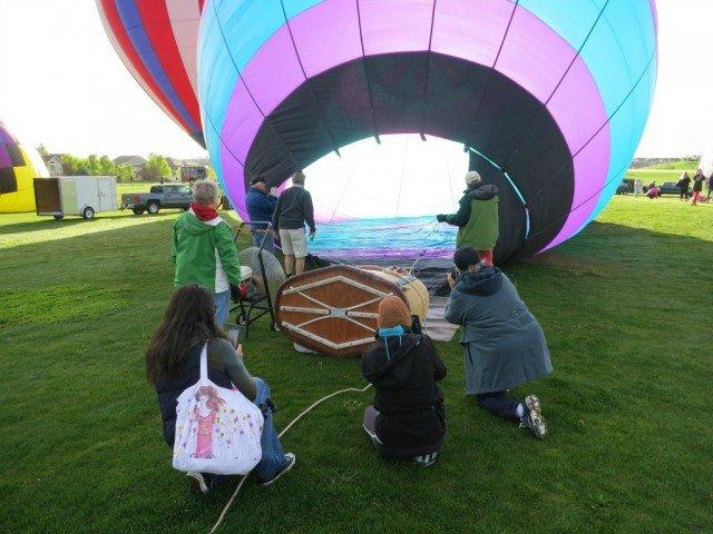 hot air balloon filling air