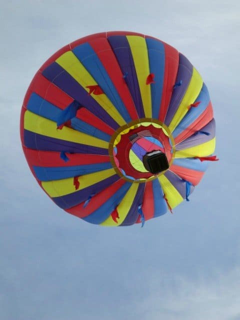 view of a hot air balloon from below