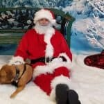 Santa Paws and dog, louisville family animal hospital