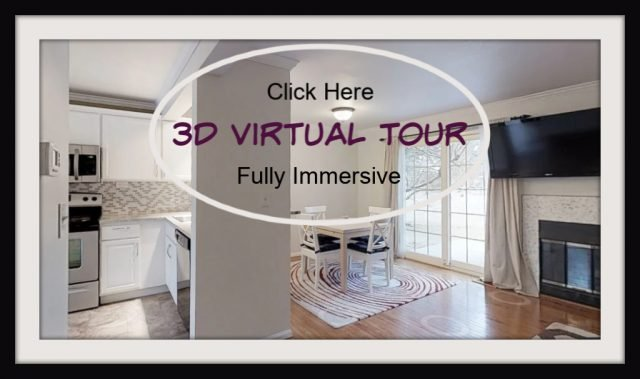 interior of condo with the words 3d virtual tour click here and hot link taking you to a tour