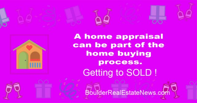 graphic, pink background with celebration graphics and a house graphic and stating a home appraisal can be part of the home buying process getting to sold