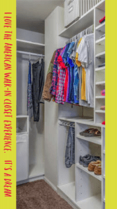 interior of a walk in closet with colorful clothing hanging and on various shelves plus writing in red with a yellow background on one side that says something about loving walk in closets