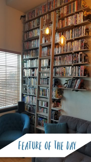 a wall of DVD type movies stretching from just above floor level up to a 9 foot ceiling. There is a ladder to access the highest levels