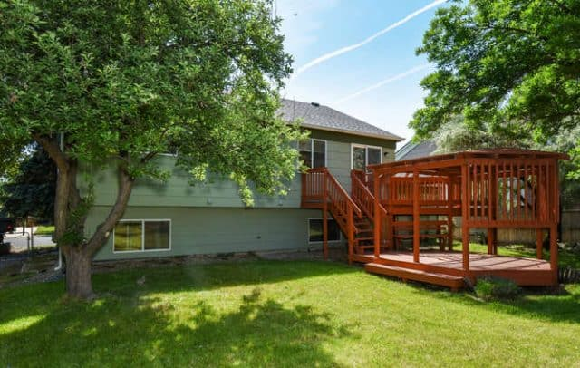 lush backyard with multi-level deck at 131 madison