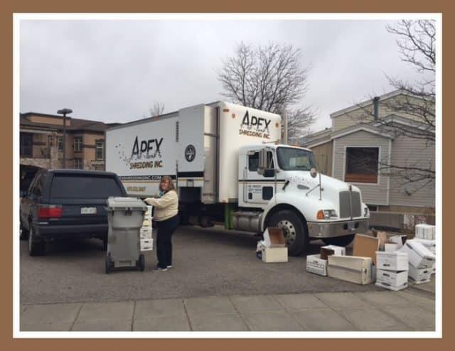 apex truck at boulder area realtor association for shredding event