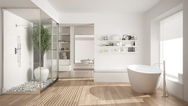 an all white bathroom on the left is a glassed in shower with a bamoo tree and rock floor on the right a big soaking tub and in the front it feels like a spa space