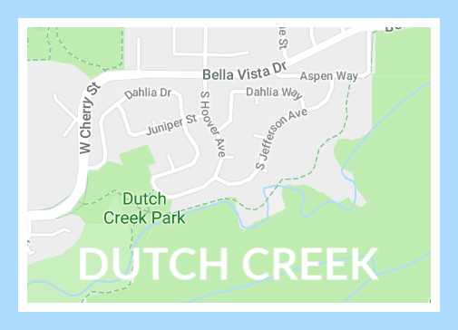dutch creek subdivision map with blue frame