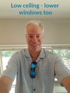 selfie bob gordon with wording low ceiling and low windows bob is six four and the windows only come up to his shoulders