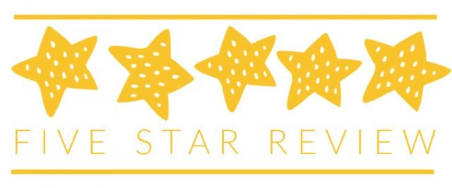 five yellow stars with dots on a white back ground words five star review