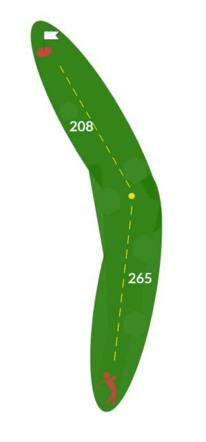 boulder country club hole ten graphic looks like a green boomerang with yellow dotted lines showing path of ball flight and total yardage