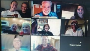 realtor bob gordon center top with the name alex trebeck in jest hosting a zoom party playing jeopardy online with ohio wesleyan university alumni