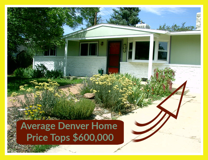 little house with red door ranch layout and green paint plus graphics and wording says average denver home price tops $600000