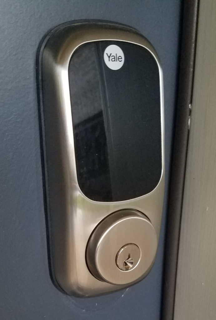 a keyless entry pad by yale although this particular lock offers both a touch pad not visible in the photo and a key option
