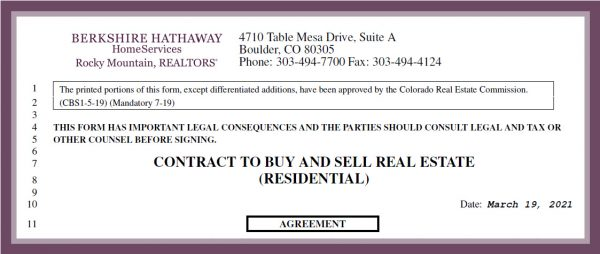 top of page one of a colorado contrac tot buy and sell real estate residential contract form