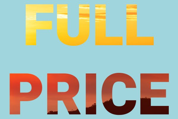 full price written in colorful letters on a light blue background