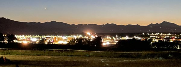 louisville colorado looking west into boulder colorado at dusk on july 4th 2021
